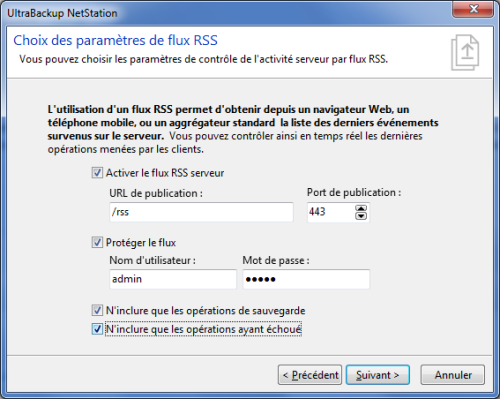 Activation du flux RSS