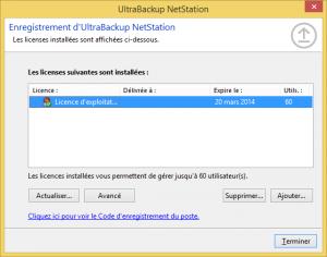 Gestionnaire de licences UltraBackup