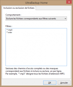 UltraBackup Home - Filtres d'exclusion
