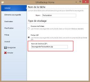 Horodatage - Choix du fichier ZIP de sauvegarde, qui sera horodaté